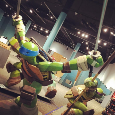Life-size Turtles sculpts located in the Sewer Entry.